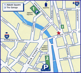 Map of downtown Bangor Maine where Dr. Penny Shar maintains her practice of Integrative Medicine: Healthy Alternatives